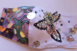 Hand Embellished Double Headed Cat & Sequin Florals ~ M/L