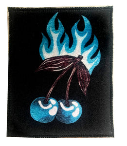 Blue Cherry Flames Velvet Patch ~ Large