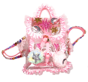 Glitter Star Clear Plastic Ruffle Backpack *SAMPLE*