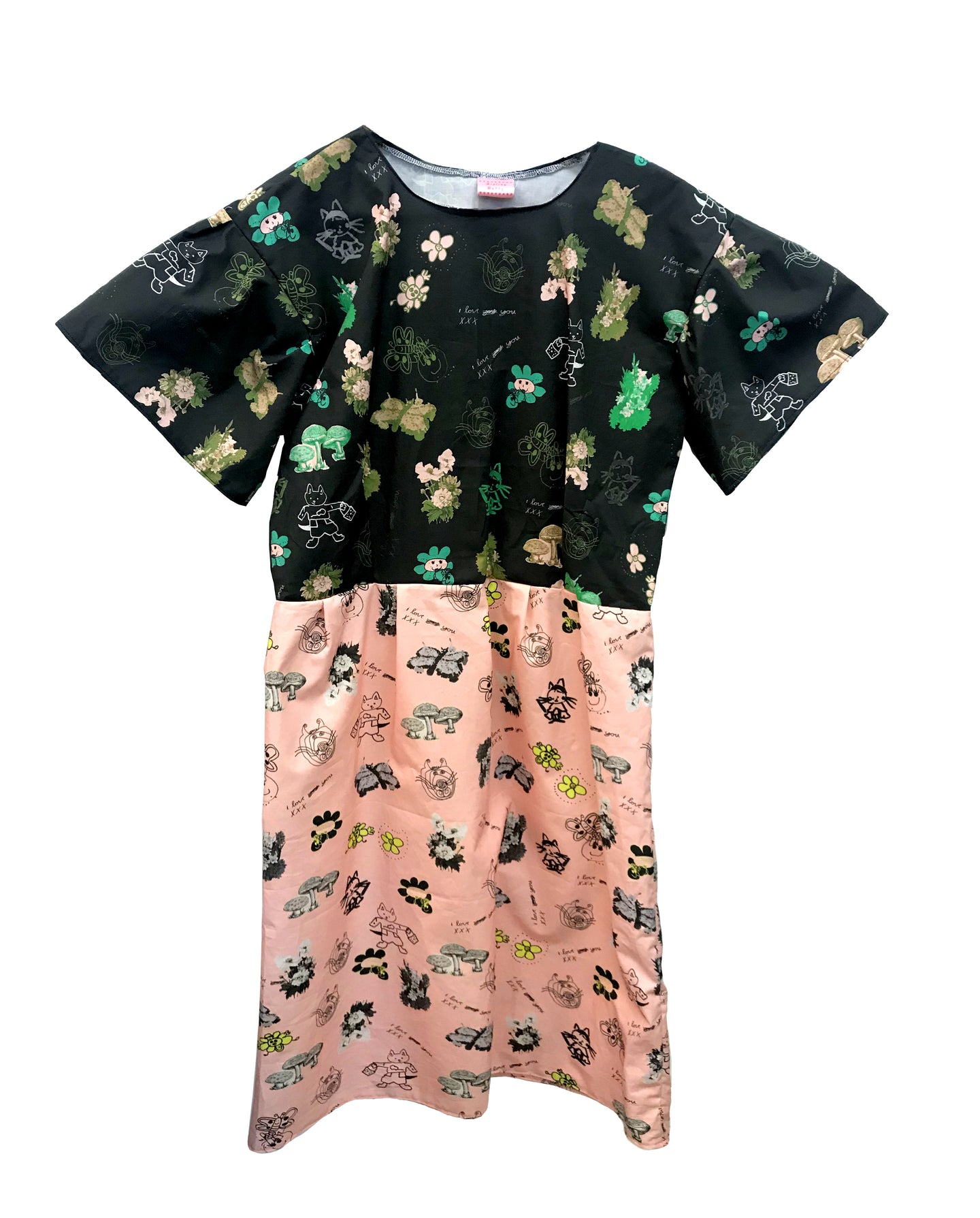 Collage Print Puff Sleeve Dress