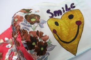Handmade Smiley Heart & Rose Sequin Patchwork ~ M/L