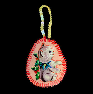 Handmade Christmas Kitten Decoration