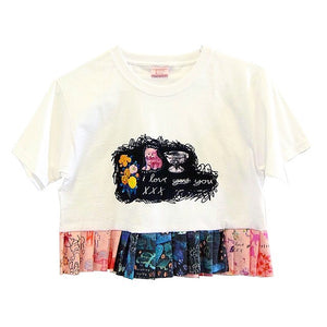 I Love You *Limited Edition* ~ Cotton Ruffle Cropped Cotton T-Shirt