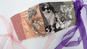 Black & White Cat & Pink Sequin Patchwork~ S/M