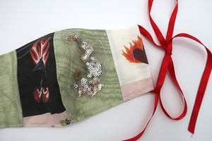 Flaming Cherry & Green with Sequin ~ S/M