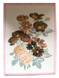Vintage Floral Faux Leather Patch ~ Medium