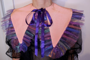 Pink & Rainbow Chiffon Raw Edge Ruffle Collar ~ AW20 Drop