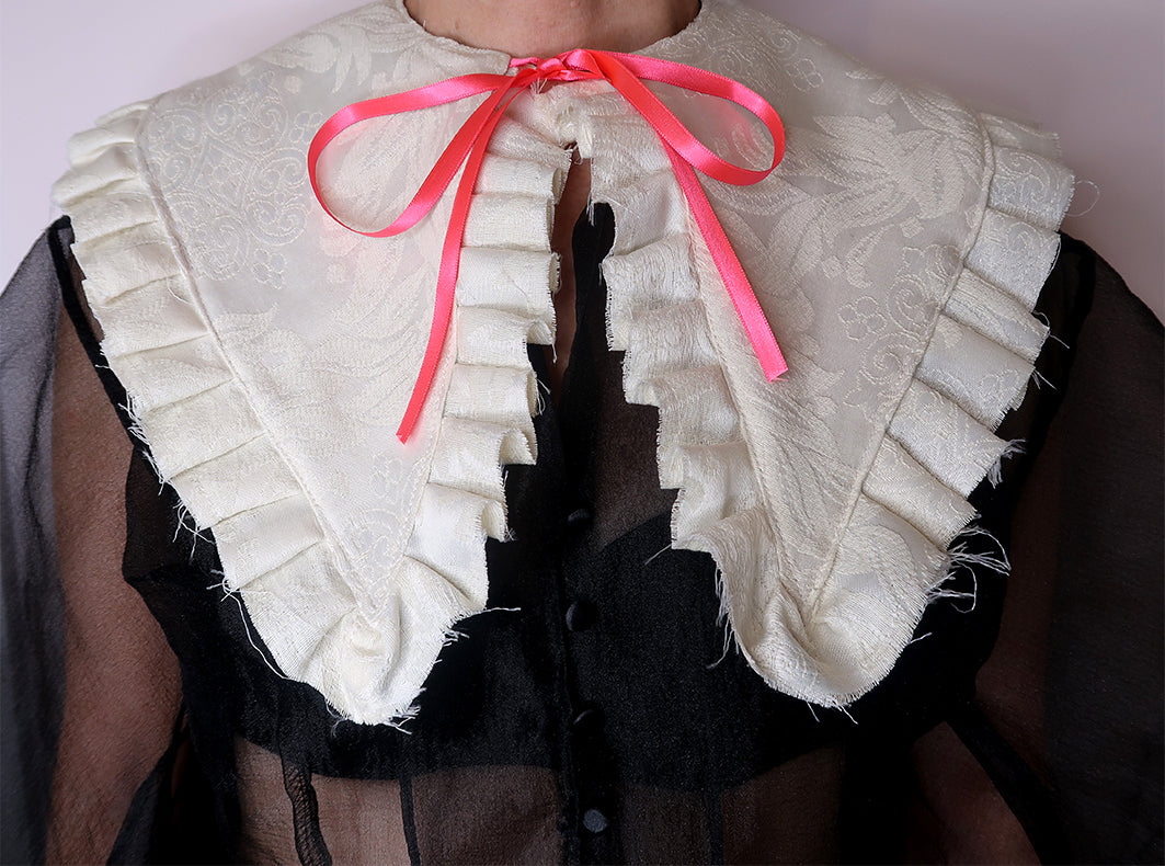 Deconstructed Ruffle Collar with Ribbon Tie
