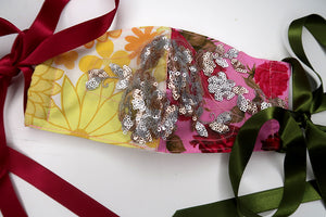 Vintage Floral & Rose Sequin Patchwork