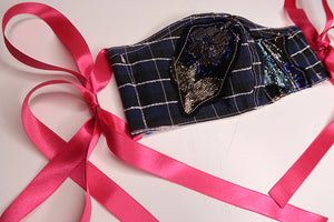 Hot Pink Ribbon & Blue Check Patchwork
