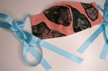 Peach Metallic & Blue Ribbon Patchwork