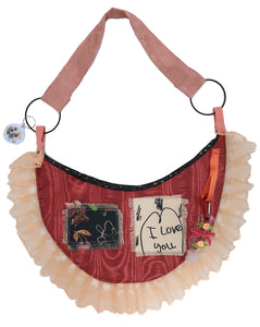 Patches, Red & Tartan Moon Sling Ruffle Bag ~ Valentines Drop