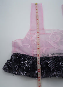 Pink Lace Sequin Ruffle Cami XS ~ Valentines Drop