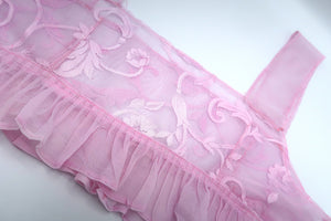 Pink Lace Pink Ruffle Cami Large ~ Valentines Drop