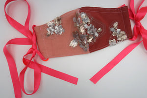 Peach, Hot Pink & Red Sequin Patchwork