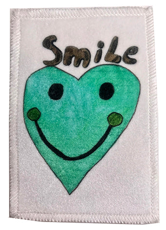 Aqua Smiley Heart Velvet Patch ~ Large