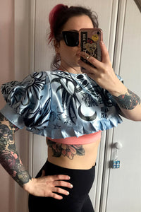 Extreme Blue Satin Crop