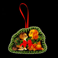 Handmade Vintage Cat & Dog Mistletoe Decoration