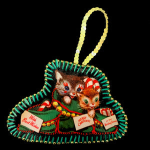 Handmade Vintage Cat Christmas Stocking Decoration
