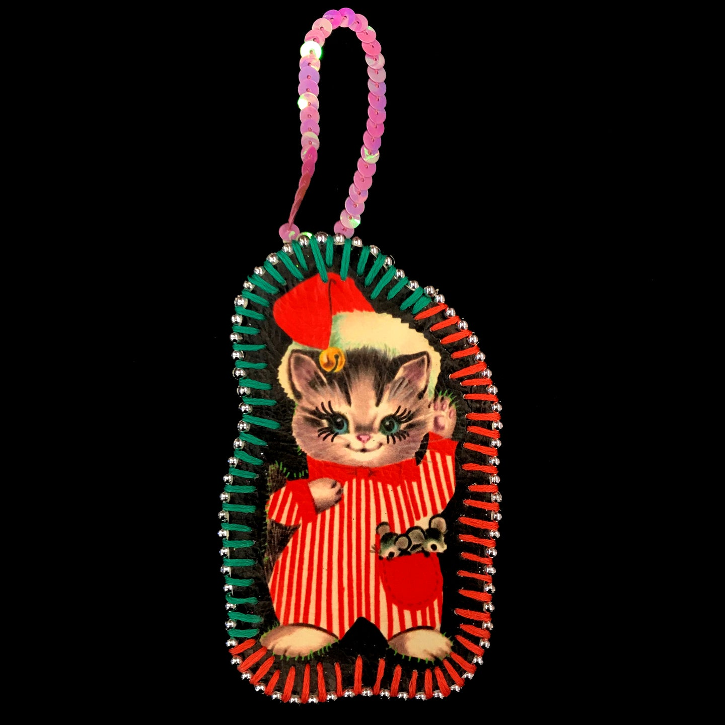 Handmade Cat in Pajamas Decoration