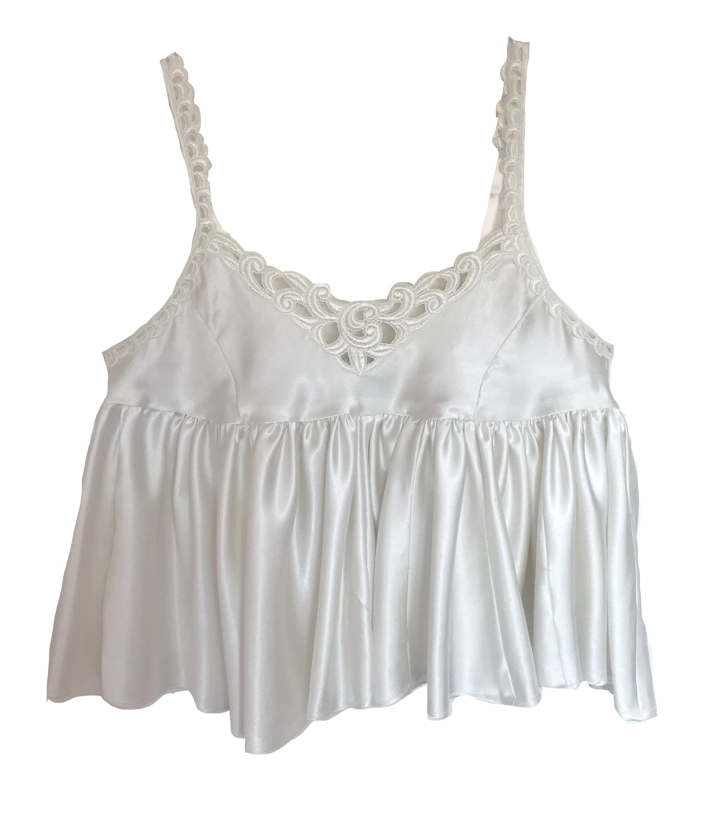 White Satin Vintage Top Uk 16 - 18