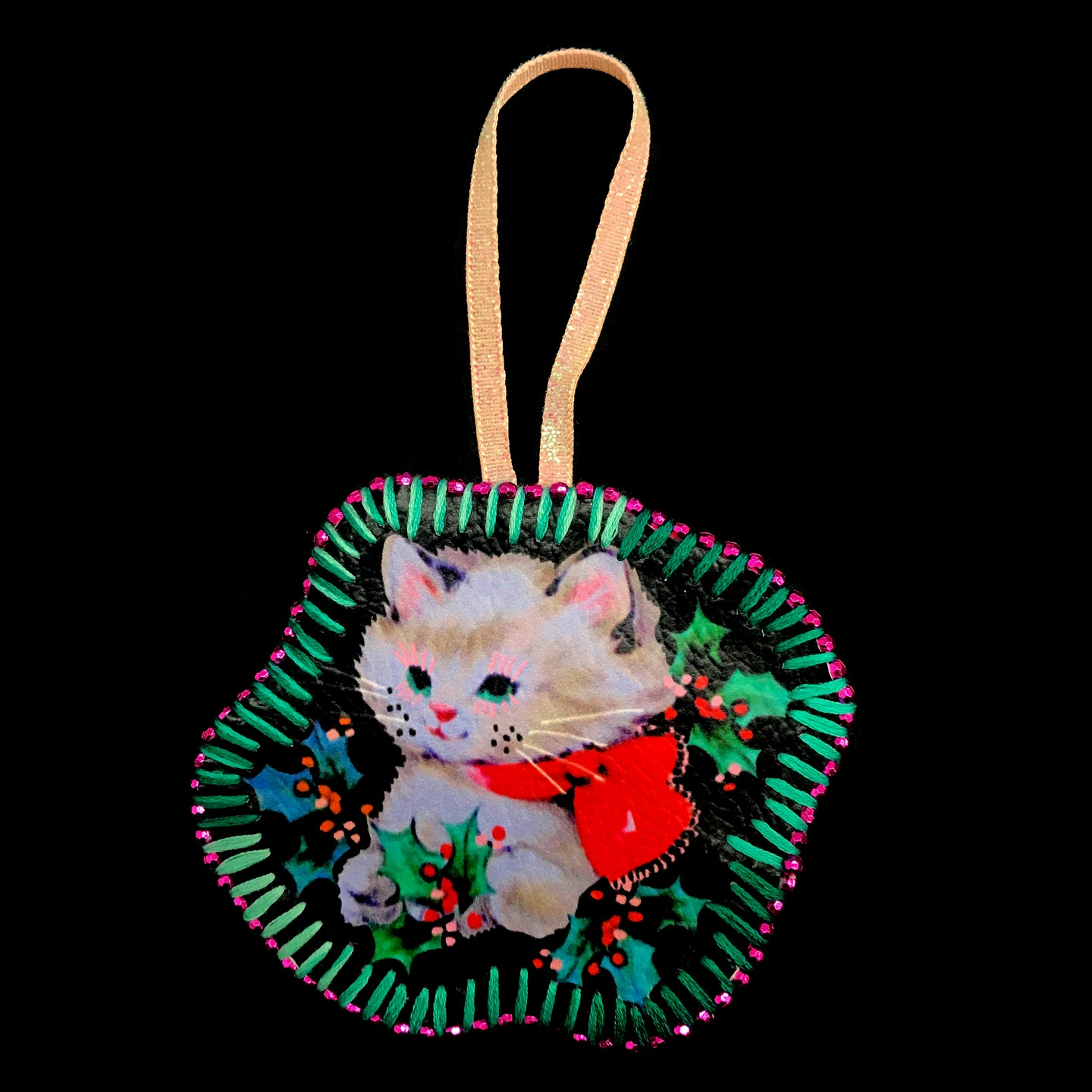 Handmade Cat with Holly Decoration