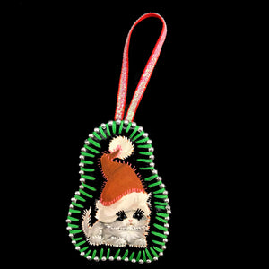 Handmade Cat In Santa Hat Decoration