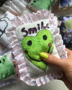 Green Smiley Ruffle Mini Cushion