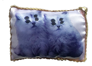 Blue Alien Catz Sequin Mini Cushion