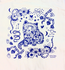 Natural Cat Eco~Cotton Screenprinted Totebag