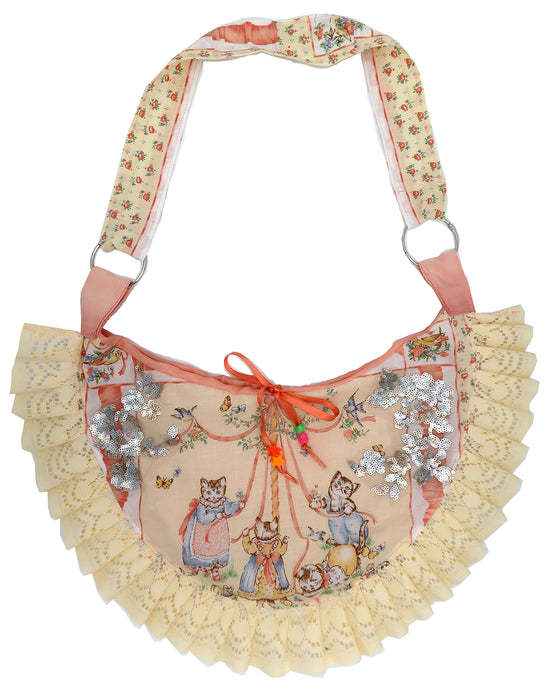 Kittens Having Fun! Moon Sling Ruffle  Bag ~ Valentines Drop