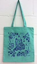 Mint Cat Eco~Cotton Screenprinted Totebag
