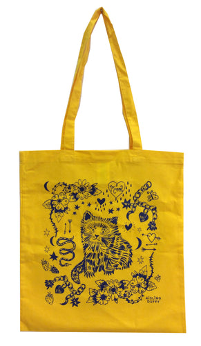 Mustard Cat Eco~Cotton Screenprinted Totebag