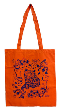Orange Cat Eco~Cotton Screenprinted Totebag