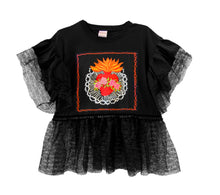 Sacred Heart Black Frilled Top