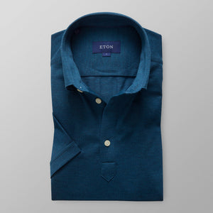 Large Slim Petrol Polo Popover Shirt - Short sleeved