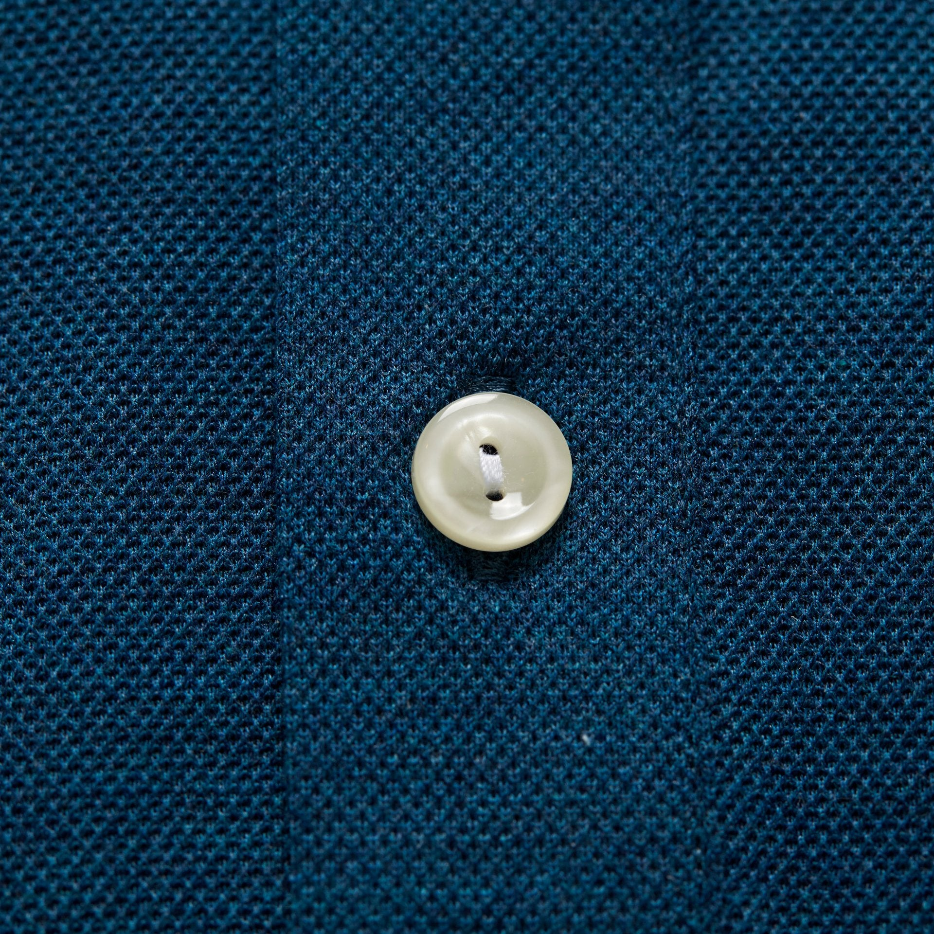Slim Petrol Polo Popover Shirt - Long Sleeved, Button Under Collar