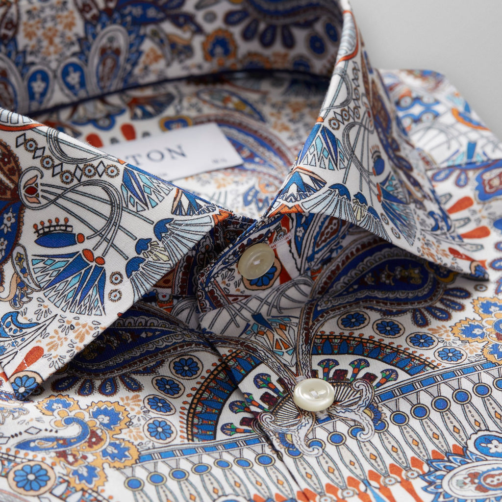 Ancient Paisley Print Twill Shirt, Cut Away Collar