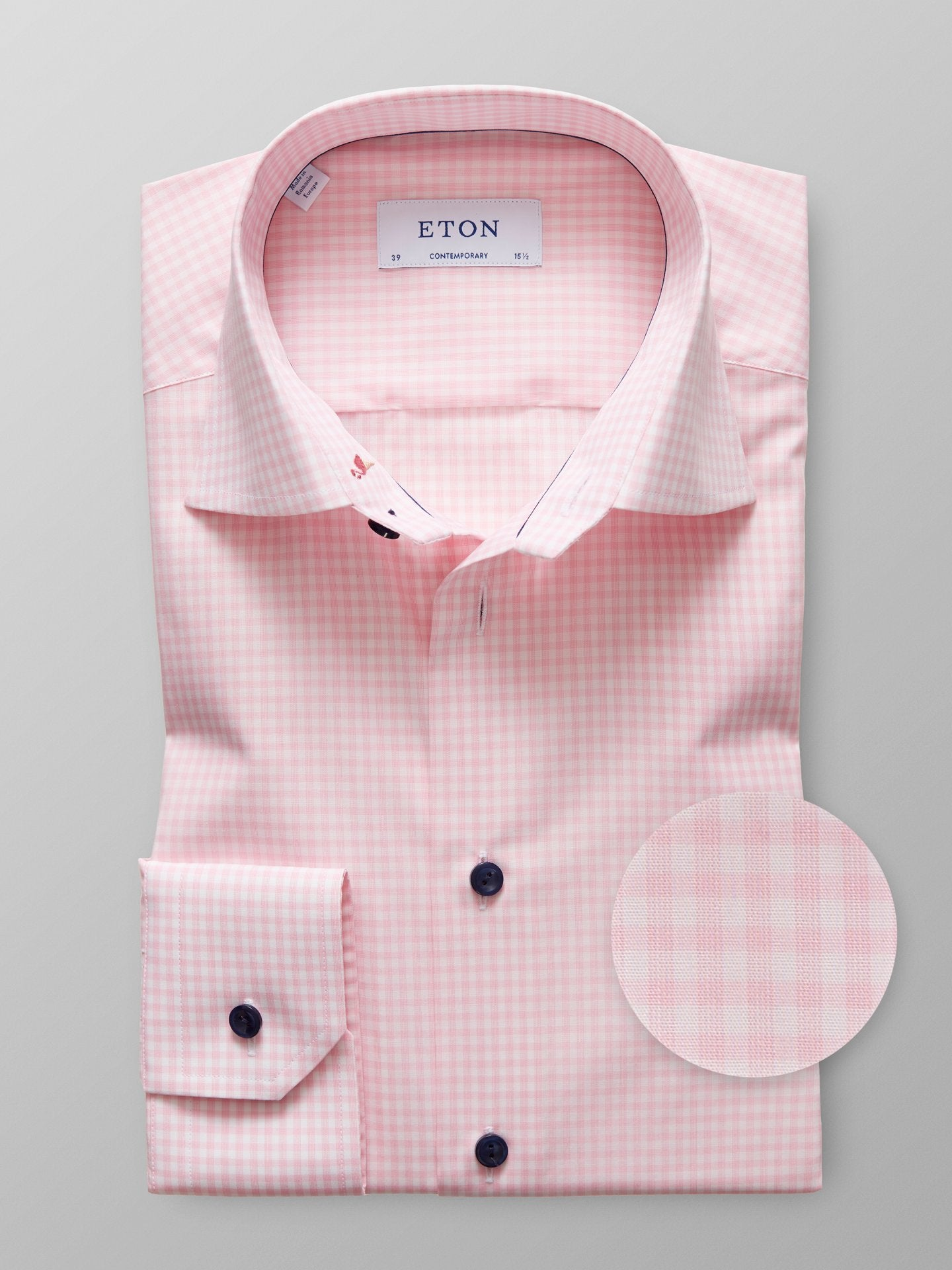 Contempo Pink Check Shirt with Embroidery