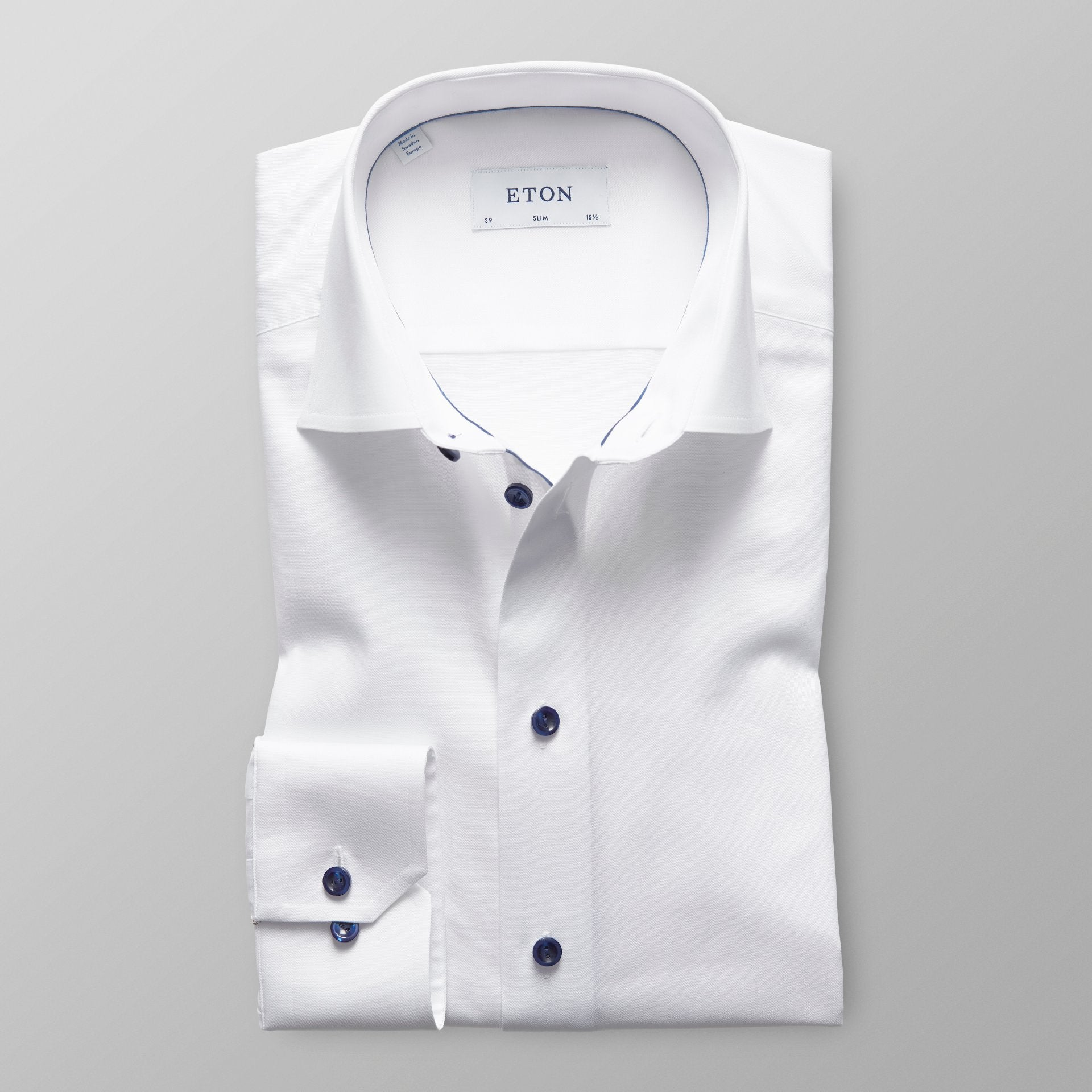 White Twill Shirt With Navy Details