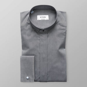Contempo Dark Grey French Cuff Shirt, Banded Collar