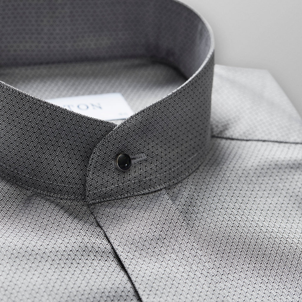 15¾ Contempo Dark Grey French Cuff Shirt With Banded Collar