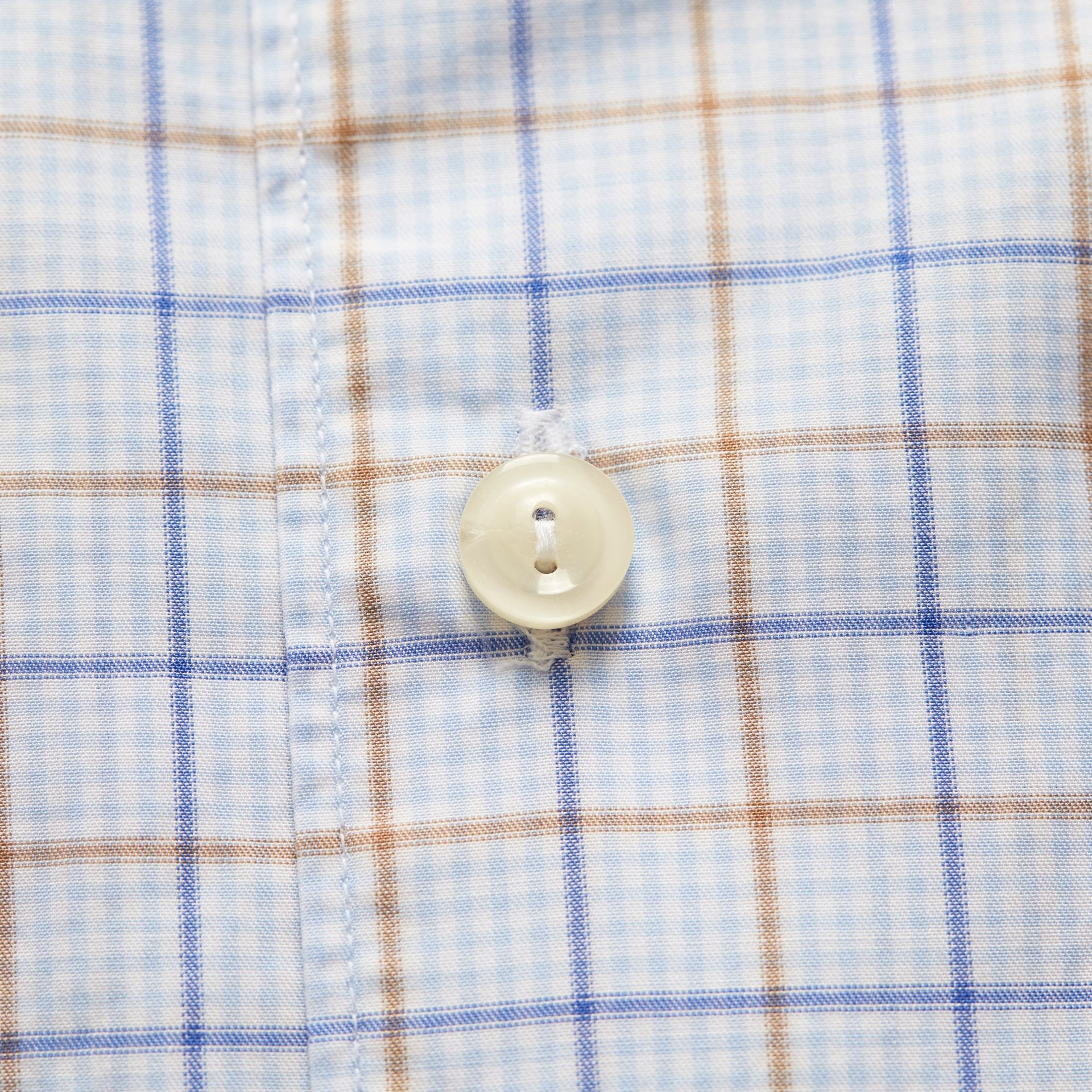 Contempo Soft Brown & Blue checked lightweight twill shirt, Extreme Cut Away Collar