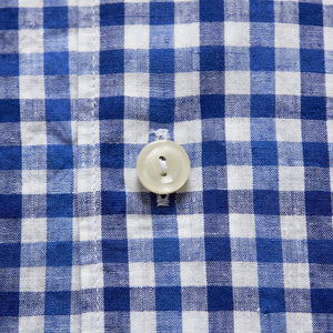 Soft blue Cotton & Linen Gingham Check Shirt, Button Under Collar