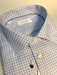 Blue Lined Mini Square Pattern Shirt, Cut Away Collar