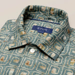 Green Block Print Linen Resort Shirt