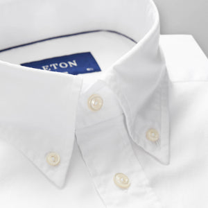 White Natural Stretch Oxford Shirt, Button Down Collar