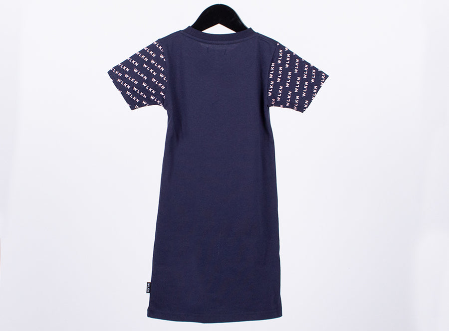 WLKN - All over tshirt dress - Navy/Pink