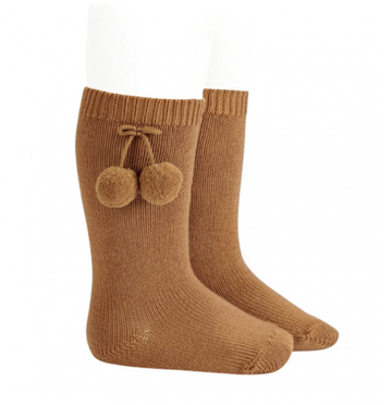 Condor - Ribbed knee-high pompom socks - Cinnamon