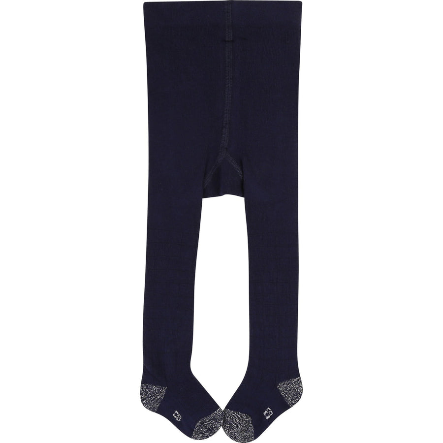 Carrement Beau - navy tights with silver detail footie